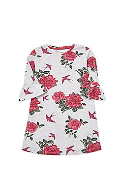 F&F Rose Print Flute Sleeve Jersey Dress - Grey
