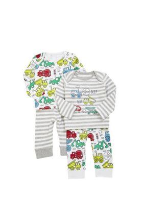 F&F 2 Pack of Transport Print Pyjamas Grey/White 9-12 months