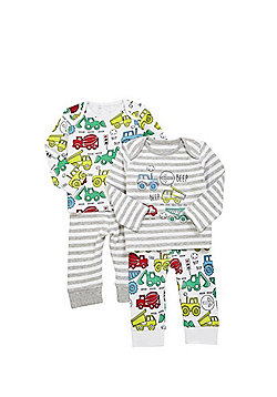 F&F 2 Pack of Transport Print Pyjamas - Grey & White