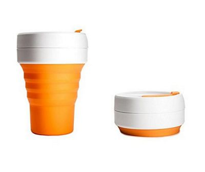 Stojo Collapsible Silicone Reusable Leak Proof Travel Mug with Lid 12oz Orange O14