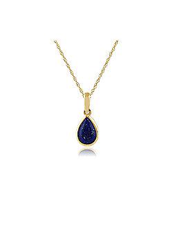 Gemondo 9ct Yellow Gold 0.35ct Lapis Lazuli Pear Single Stone Pendant on Chain