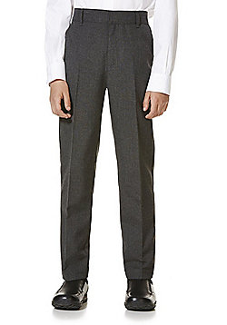 "F&F School 2 Pack of Boys Teflon EcoElite""™ Flat Front Slim Leg Trousers - Light grey"