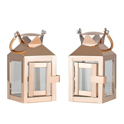 Pair Of Hurricane Lantern Tea Light Holder - Copper