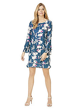 Vila Floral Print Double Bell Sleeve Dress - Green & Multi