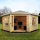 Single Glazed Wooden Corner Log Cabin, 28mm, 13x13ft