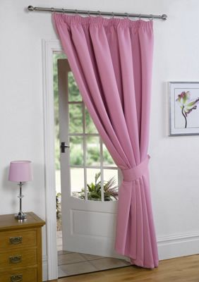 Dreamscene Thermal Pencil Pleat Blackout 1 Door Curtain Ready Made Lined - Pink 66x84