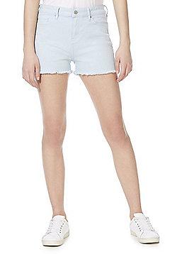 F&F Frayed Hem Mid Rise Denim Shorts - Pale Blue