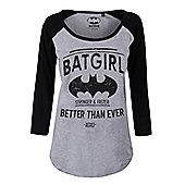 DC Comics Women's Batgirl Long-sleeve Raglan T-Shirt Grey & Black - Silver