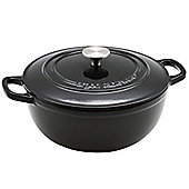 Argon Tableware 3.5L Round, Cast Iron Enamelled Casserole Dish, Oven Safe - Black