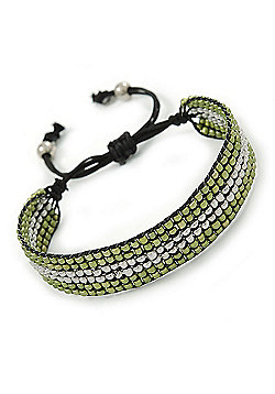 Unisex Olive Green/ Silver Glass Bead Friendship Bracelet - Adjustable