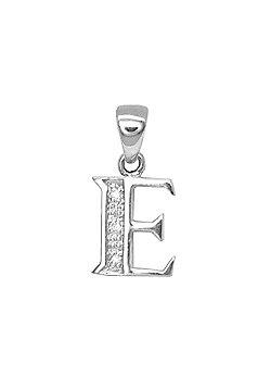 Jewelco London 9 Carat White Gold Elegant 1.5pts Diamond-Set Initial Pendant - Initial E