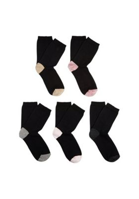 F&F 5 Pair Pack of Marl Heel Ankle Socks One Size Black