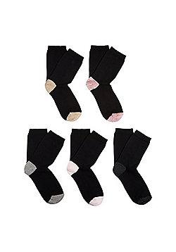 F&F 5 Pair Pack of Marl Heel Ankle Socks - Black