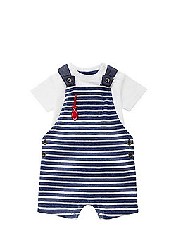 F&F T-Shirt and Striped Dungarees Set - Blue & White
