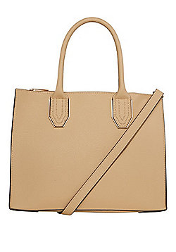 F&F Triple Compartment Square Bag Nude Pink One Size