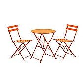 Padstow Burnt Orange Folding Steel Garden Bistro Set