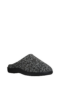 F&F Knitted Mule Slippers - Grey
