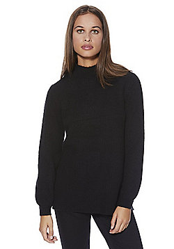 F&F Blouson Sleeve Moss Stitch Jumper - Black