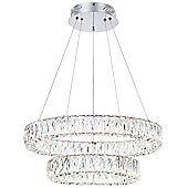 Litecraft Eternity 2 Tiered LED Prism Bar Ceiling Pendant, Chrome and Glass