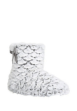 F&F Faux Fur Bootie Slippers - Grey