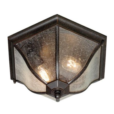 Elstead Lighting New England 2 Light Flush Lantern in Weathered Bronze