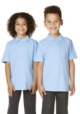 """F&F School 2 Pack of Boys Teflon EcoElite""""™ Polo Shirts with As New Technology 4-5 years Blue"""