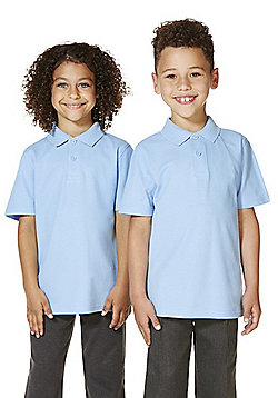 "F&F School 2 Pack of Boys Teflon EcoElite""™ Polo Shirts with As New Technology - Blue"