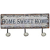 Home Sweet Home Triple Metal Wall Hooks