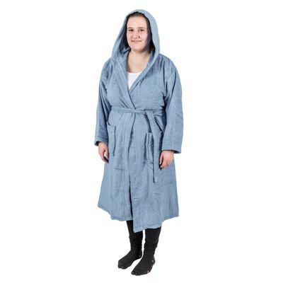 Homescapes Blue 100% Combed Egyptian Cotton Hooded Adults Bathrobe, L/XL