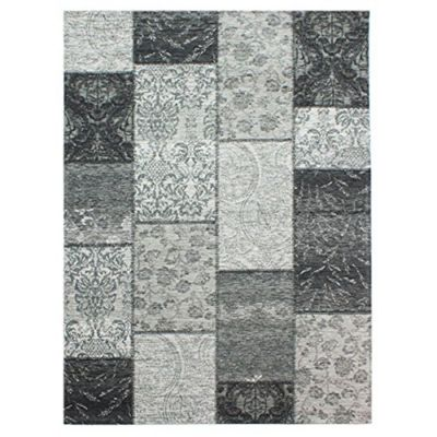 Manhattan patchwork rug - black/grey - 155x230cm