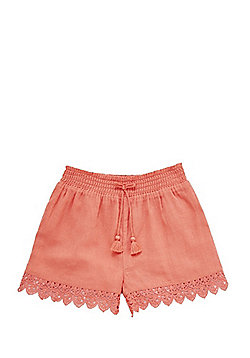 F&F Crochet Trim Lined Shorts - Coral