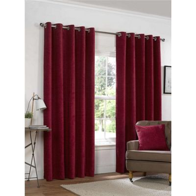 Rapport Yale Red Chenille Eyelet Curtains - 66x72 Inches (168x183cm)