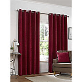 Rapport Yale Chenille Eyelet Curtains - Red