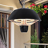 Outsunny 600W Electric Heater Ceiling Hanging Halogen Light with Adjustable Hook - Black