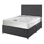 Happy Beds Signature Platinum 2000 Mattress Divan Bed Set Plain Headboard Charcoal