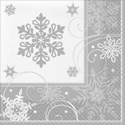 Sparkling Snowflake Dinner Napkins - 16 Pack