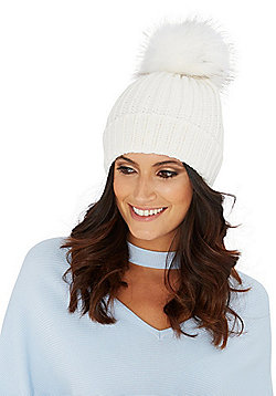 F&F Ribbed Knit Faux Fur Bobble Hat - Cream