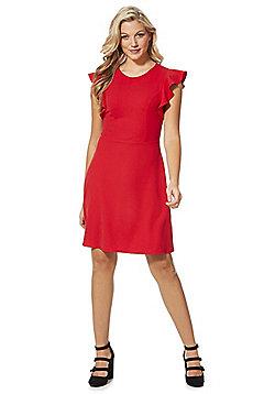 F&F Ruffle Sleeve Dress - Red