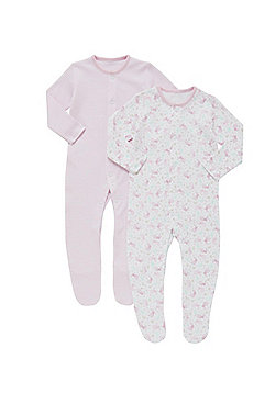 F&F 2 Pack of Bunny Print and Striped Sleepsuits - Pink & Multi