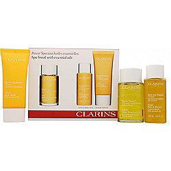 Clarins Spa Break Gift Set 100ml Tonic Body Treatment Oil + 100ml Tonic Bath & Shower ...