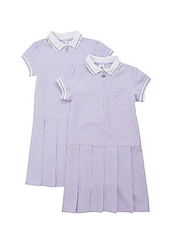 F&F School 2 Pack of Permanent Pleat Gingham Dresses - Lilac & White
