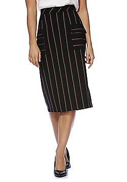 F&F Striped Utility Pocket Pencil Skirt - Black & Red