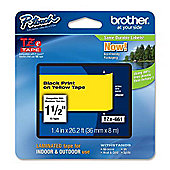 Brother 36mm Gloss Tape Black/Yellow