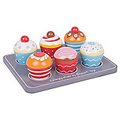 Bigjigs Toys Wooden Cup Cakes and Wooden Muffin Tray - Play Food and Role Play for Kids