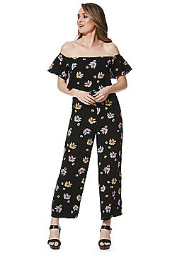 Fashion Union Floral Bardot Cropped Jumpsuit - Black