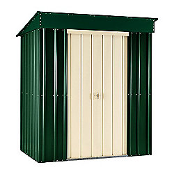 Store More Heritage Green Lotus Metal Pent Shed, 6x3ft