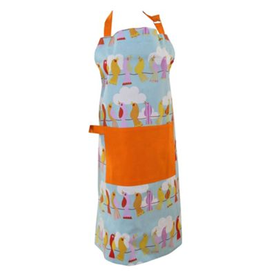 Homescapes Cotton Birds on Wire Orange Blue Unisex Apron With Pocket