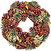 Red, Gold & Green Glitter Pine Cone, Artificial Berry & Fir 34cm Christmas Wreath