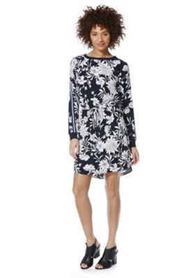Only Striped Sleeve Floral Dress XS Blue