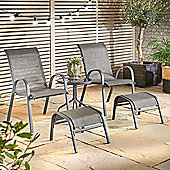 VonHaus 5 Piece Textoline Lounge Set – Including 2 X Chairs, 2 X Matching Footrests and Table